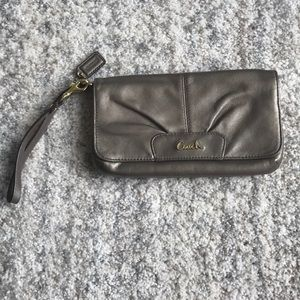 Leather Coach Clutch with gold hardware